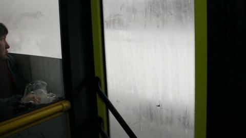 road through the bus window Footage