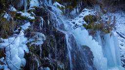 Waterfall with ice Footage