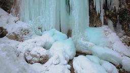 Frozen waterfall in the mountains Footage