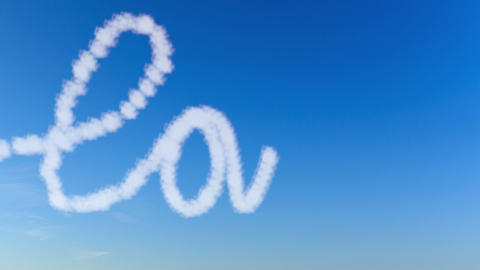 Writing word love with clouds Animation