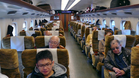 People Traveling On Shinkansen Bullet Train In Japan Asia Live Action