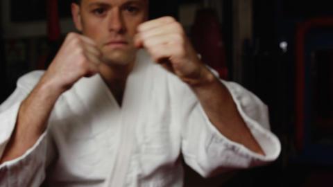 Man practicing karate Footage