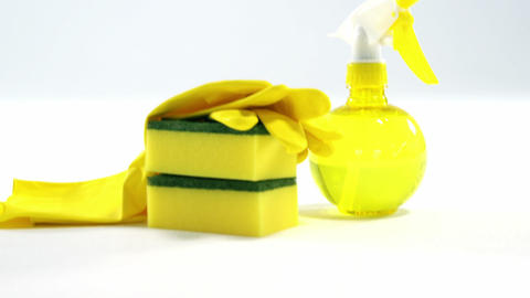 Cleaning sponge, gloves and spray bottle Footage