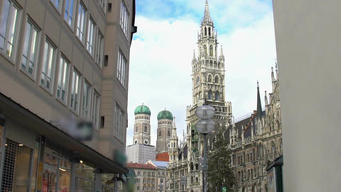 Beautiful gothic cathedral in large European city, famous architecture landmark Footage