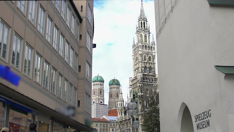 New Town Hall building and cathedral at Marienplatz, Munich. Place of interest Footage