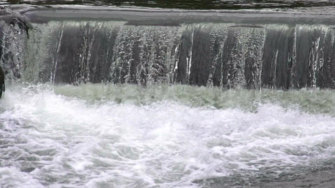 Foamy waters of rapid waterfall, endless stream in slow motion, life, eternity Footage