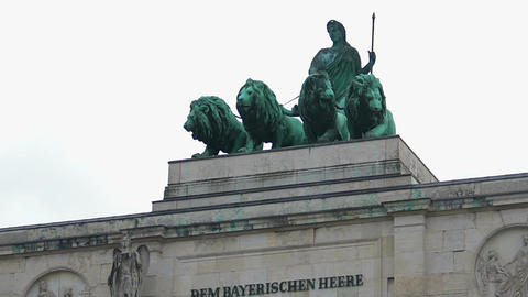 Bavaria statue with lions atop Siegestor triumphal arch, Munich top attraction Footage