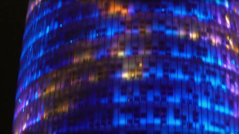 Modern architecture, amazing illuminative LED show happening on skyscraper Footage