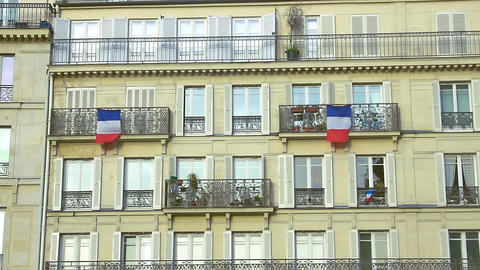 French flags hanging on balconies beautiful building, architecture, patriotism Footage
