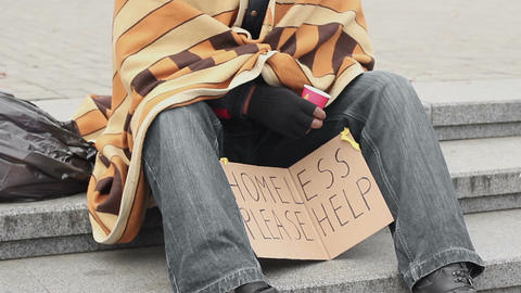 Socially vulnerable lonely man asking for help and begging, poverty and sadness Live Action
