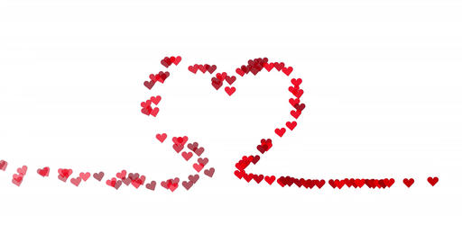 Hearts appearing on heart shaped line white Animation