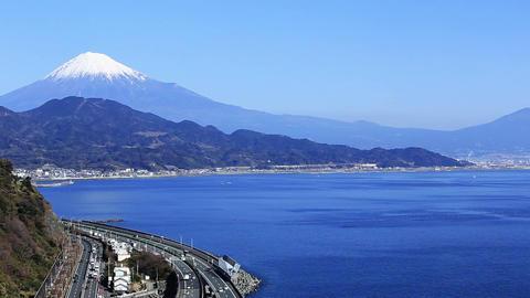 Blue sea and Mt. Fuji Footage
