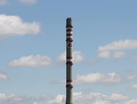 4K AES Energy Factory Tower Clouds Timelapse Stock Video Footage