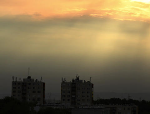 4K Lightrays Clouds Sunset Timelapse over Industrial City 01 Stock Video Footage