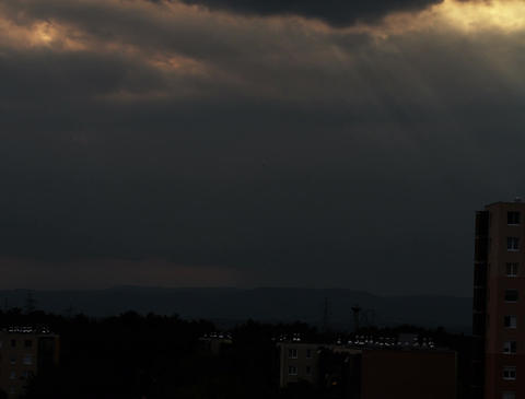 4K Lightrays Clouds Sunset Timelapse over Industrial City 04 Stock Video Footage