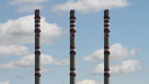 AES Energy Factory Towers Clouds Timelapse Stock Video Footage