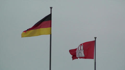 Flag of Germany and Hamburg Stock Video Footage