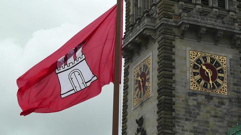 Hamburg City Hall 02 flag Stock Video Footage