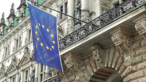 Hamburg City Hall 04 european union flag Stock Video Footage