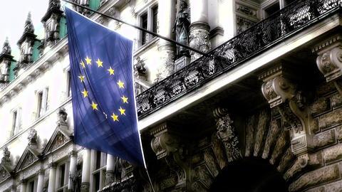 Hamburg City Hall 16 european union flag stylized Stock Video Footage