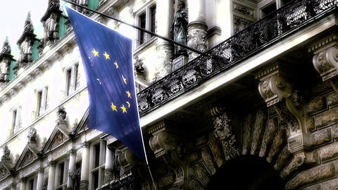 Hamburg City Hall 16 european union flag stylized Footage