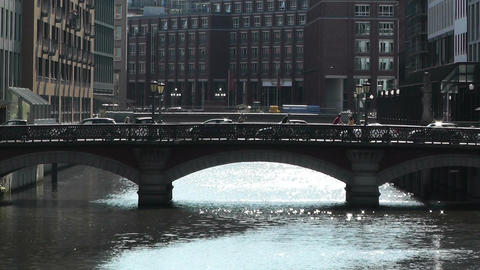 Hamburg Downtown 07 canal Stock Video Footage