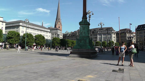 Hamburg Downtown 09 pan Stock Video Footage