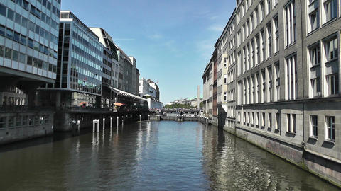 Hamburg Downtown 11 canal Stock Video Footage