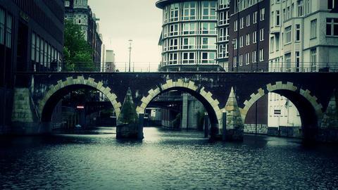 Hamburg Downtown 13 canal stylized Stock Video Footage