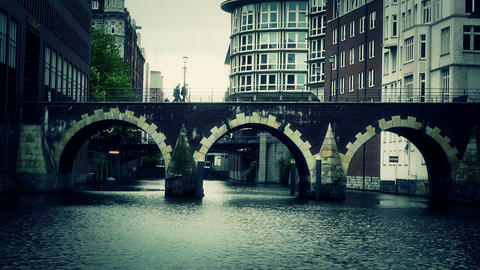 Hamburg Downtown 13 canal stylized Stock Video Footage