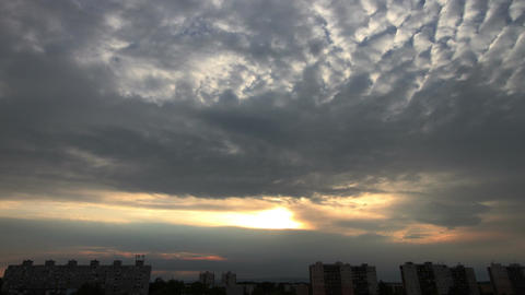 Lightrays Clouds Sunset Timelapse over Industrial City 02 Stock Video Footage