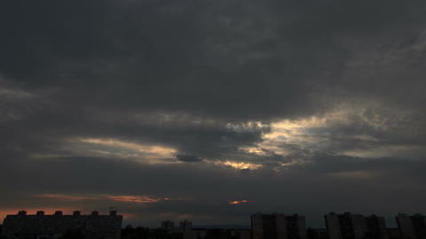 Lightrays Clouds Sunset Timelapse over Industrial City 02 Footage