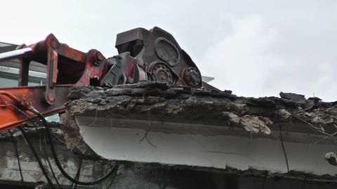 Machine Destroying Building 02 Stock Video Footage