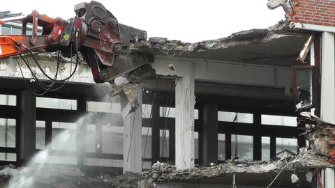 Machine Destroying Building 04 Stock Video Footage