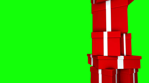 Pile of Gifts Red (Loop on Green Screen) Stock Video Footage