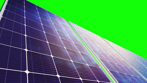 Solar Panels Panorama (Loop on Green Screen) Stock Video Footage