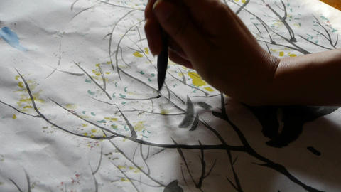 Use Writing brush to creating Traditional Chinese painting Stock Video Footage