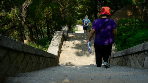 Tourists walking in mountain stone steps,climber walking... Stock Video Footage