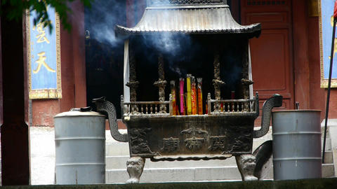 Burning incense in Incense burner,Wind of smoke Stock Video Footage