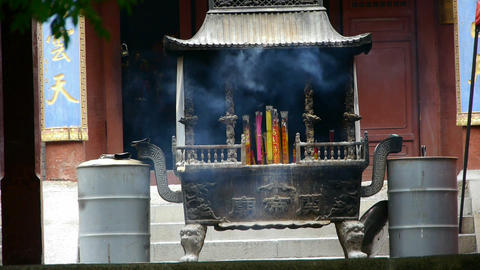 Burning incense in Incense burner,Wind of smoke Footage