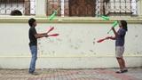 Two Street Jugglers Practicing Footage