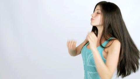 Beautiful happy girl dancing smiling Stock Video Footage
