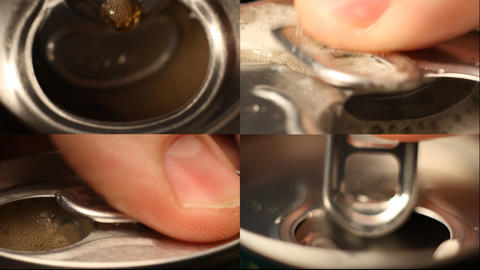 cola or beer can opening sound Close up Stock Video Footage