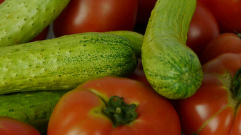 A set of fresh tomato & cucumber fruit vegetables Stock Video Footage