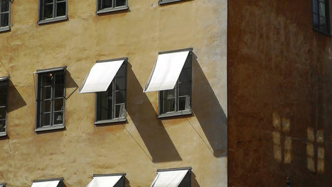 Odl Mediterranean Building and Sunshades Stock Video Footage