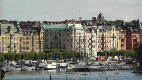 Stockholm Downtown 03 view from Gamla Stan Stock Video Footage