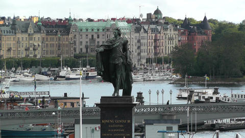 Stockholm Downtown 05 view from Gamla Stan Stock Video Footage