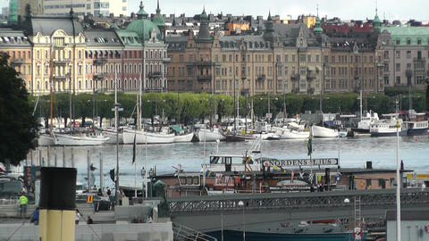 Stockholm Downtown 07 view from Gamla Stan Stock Video Footage