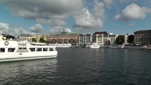 Stockholm Downtown 09 view from Gamla Stan Stock Video Footage