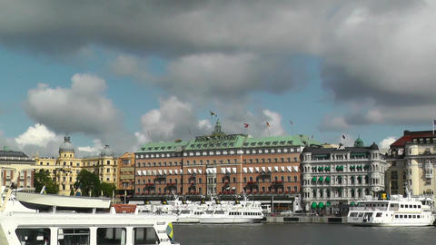 Stockholm Downtown 11 view from Gamla Stan Stock Video Footage
